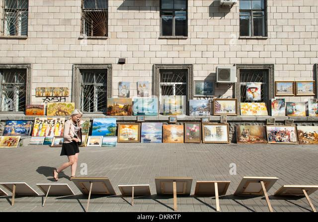 Gemälde zum Verkauf auf besang Straße in Kiew, die Hauptstadt der Ukraine. Stockbild