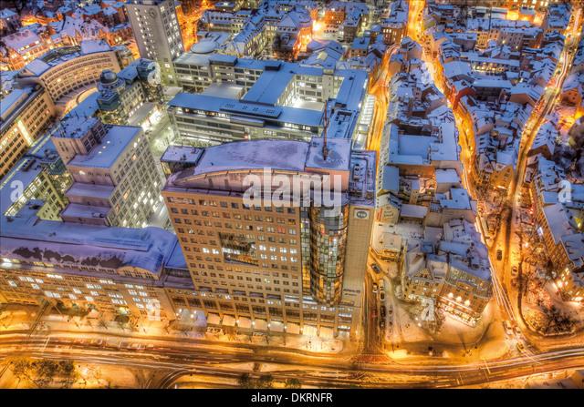Blick vom Jentower, Ernst-Abbe-Platz und das Gebäude B59, Jena, Thüringen, Deutschland, Europa Stockbild