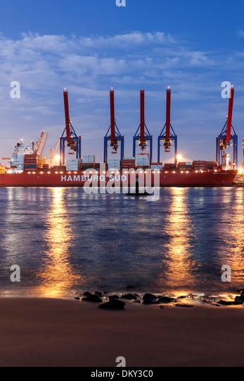 Elbe Strand Vollmond, Altona, Hamburger Hafen, Hamburg, Deutschland Stockbild