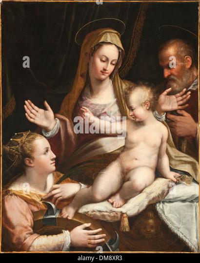 Die Heilige Familie mit Hl. Katharina von Alexandria 2011.2 Stockbild