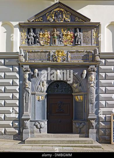 Renaissance-Portal des Rathauses in Gera, Thüringen, Deutschland Stockbild