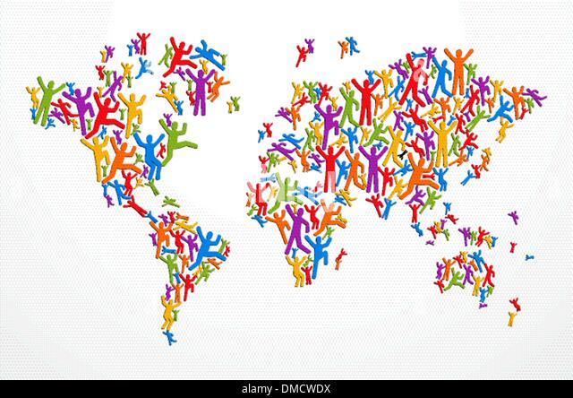 Diverstiy Menschen Konzept Weltkarte Stockbild