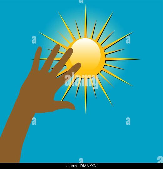 Hände über die Sonne Stockbild