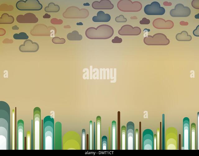 Retro-Landschaft mit Bäumen und Wolken Stockbild
