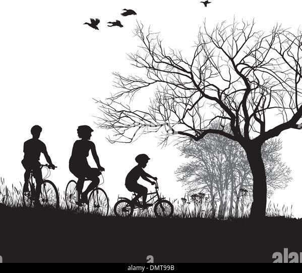Familie Radfahren auf dem Lande Stockbild