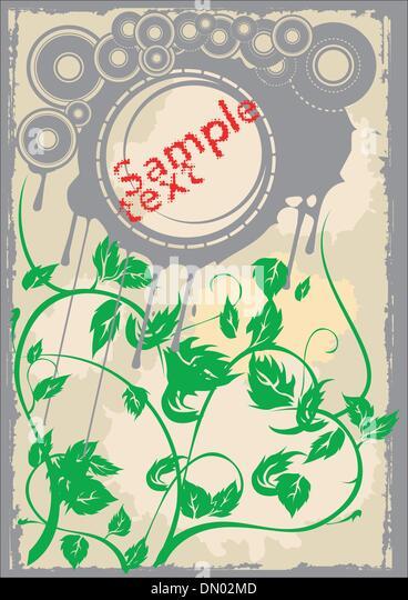 Graue Platten grünes Blatt alte Seite. Flayer. Vektor-Illustration. Keine Netze. Stockbild