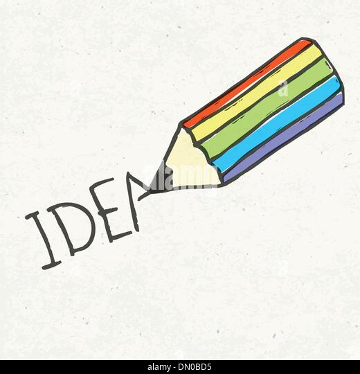 Bleistift und Idee Wort. Handgezeichnete Abbildung, EPS10 Stockbild