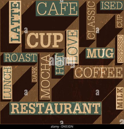 Kaffee unter dem Motto nahtlose Retro-Hintergrund, Vektor Stockbild