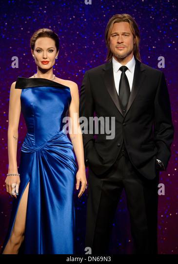 Das Wachsfigurenkabinett von Brad Pitt und Angelina Jolie bei Madame Tussauds London. Stockbild