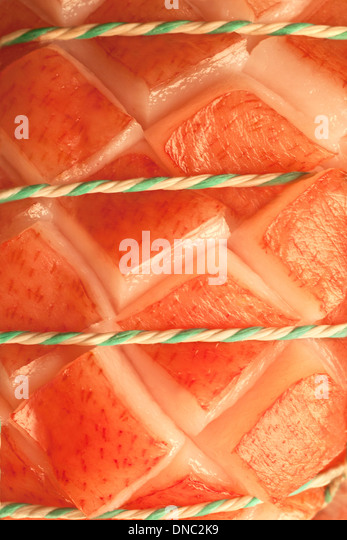 Nahaufnahme / Detail roh gebunden Schweinebraten Stockbild