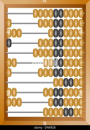 Abacus Accounting für Finanzberechnungen liegt auf einem weißen Hintergrund Stockbild