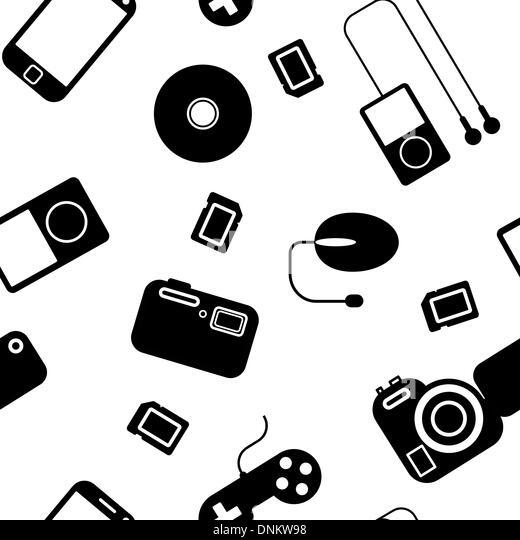 Nahtlose Hintergrund Symbol mit elektronischen Geräten. Einsetzbar als nahtlose Tapeten, Textilien, Geschenkpapier Stockbild