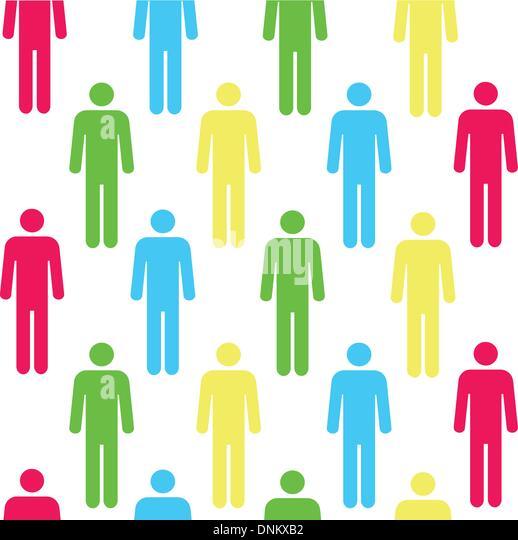 Nahtlose Muster mit Silhouetten der Person von roter Farbe. (wiederholt und in jeder beliebigen Größe Stockbild