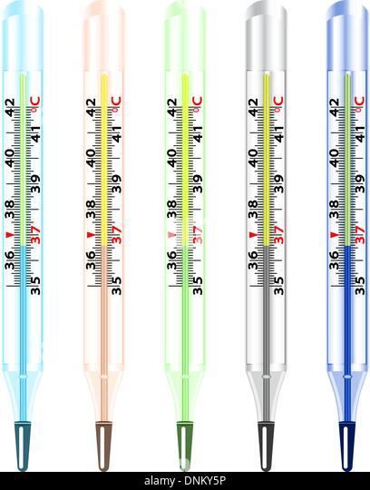 Medizinglas Quecksilber-Thermometer auf weißem Hintergrund. Stockbild