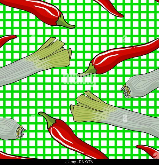 Musterdesign Gemüse Lauch und Paprika-Vektor-illustration Stockbild