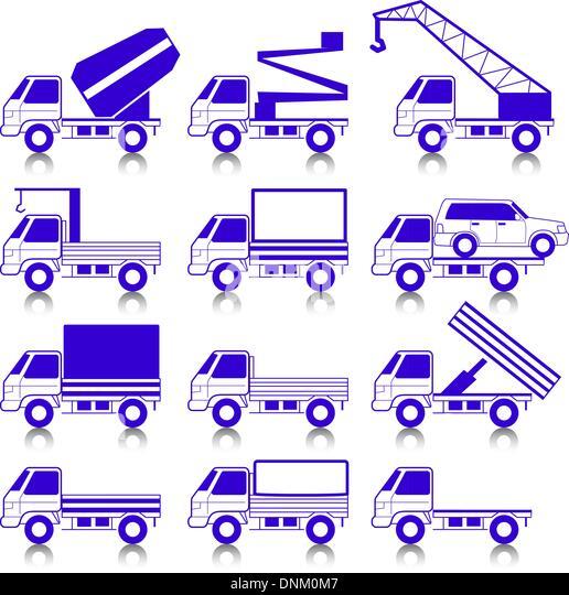 Satz von Vektor-Icons - Transport-Symbole.  Autos, Fahrzeuge. Karosserie & Anbauteile. Stockbild