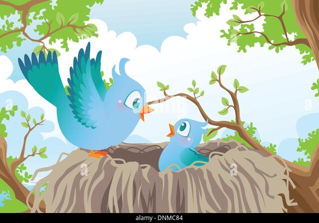 Eine Vektor-Illustration der Vögel im nest Stockbild