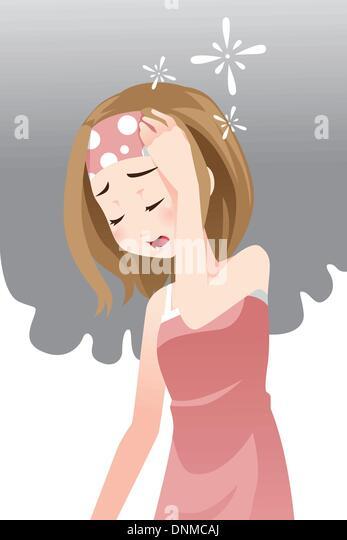 Eine Frau, die Kopfschmerzen eine Vektor-illustration Stockbild