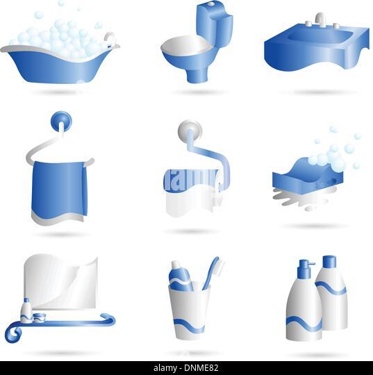 Eine Vektor-Illustration der Ikonen der Dinge, die im Bad gefunden werden kann Stockbild