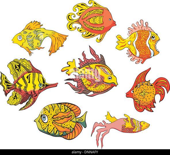 Bunte tropische Fische. Satz von Farbe-Vektor-Illustrationen. Stockbild