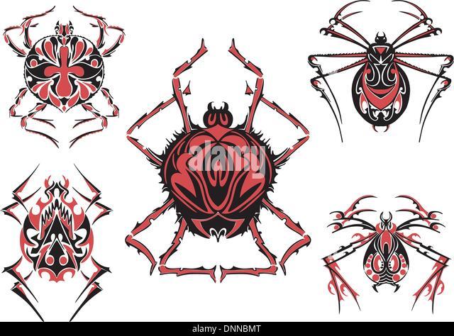 Schwarze und rote Spinne der symmetrischen Tätowierungen. Vektor-Illustration-EPS8 Stockbild