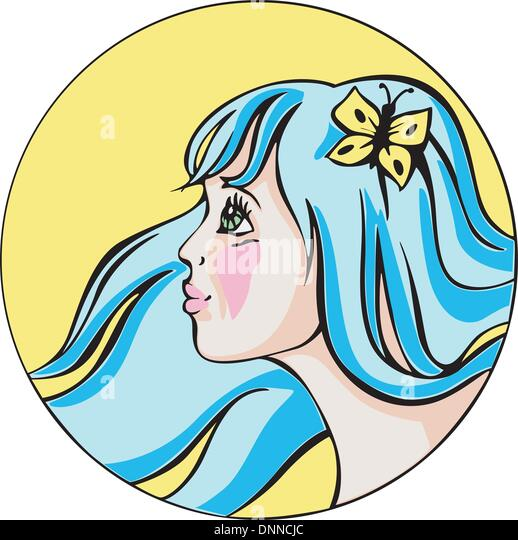 Runde Bildniss junge niedliche rothaarige Frau mit blauen Haaren. Bunte Vektor-Illustration. Stockbild