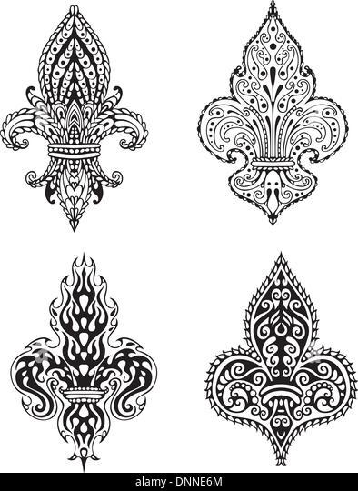 Fleur (französische Lilien der Bourbonen). Satz von schwarzen und weißen Vektor-Illustrationen. Stockbild