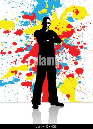 Silhouette eines Mannes auf einem Grunge Hintergrund Stockbild