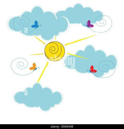 Nette Karte mit Wolken und Sonne Stockbild