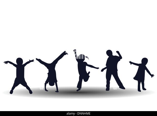 Springen und spielen glückliche Kinder Stockbild