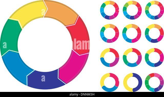 Prozess-Diagramme-Menü isoliert auf weißem Hintergrund Stockbild