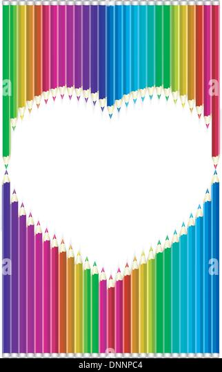 Farbe Bleistifte in Herzform Stockbild