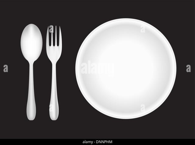 Teller, Gabel und Löffel Stockbild