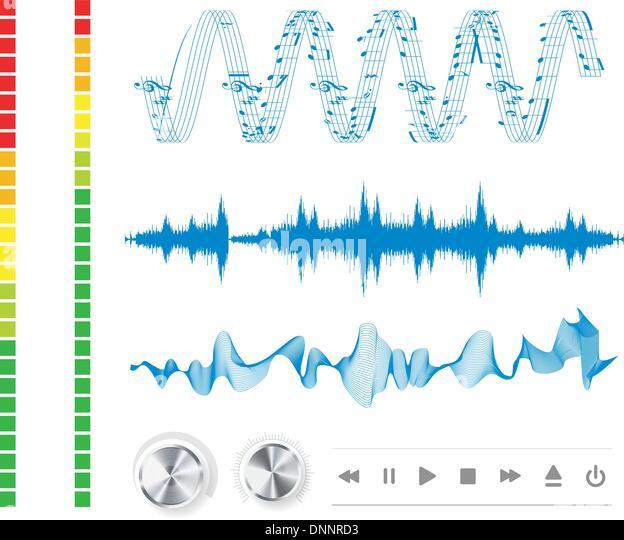 Noten, Tasten und Schallwellen. Hintergrundmusik. Stockbild