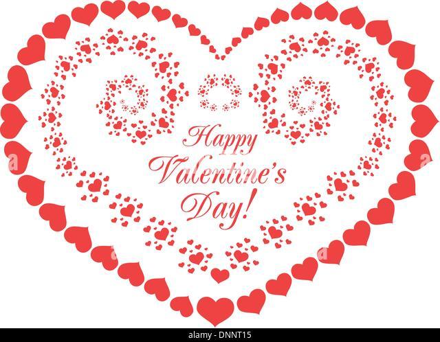 Valentinstag-Vektor-Hintergrund mit Herzen auf weiß Stockbild