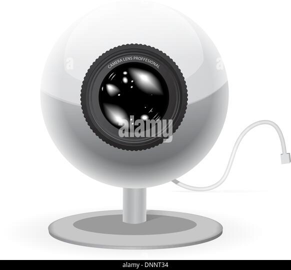 Webcam-Vektor-Illustration isoliert auf weißem Hintergrund Stockbild