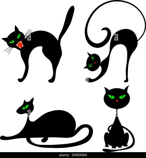 Satz von Halloween schwarze Katze mit grünen Augen. Vektor-Illustration. Stockbild