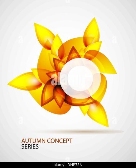 Herbst abstraktes Vektor gemacht von orange Blätter Stockbild