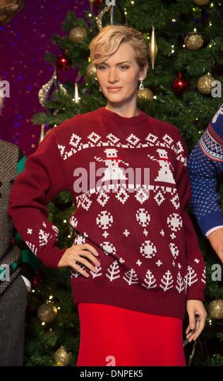 Kate Winslet Weihnachten Jumper Madam Tussauds Stockbild