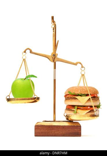 Gesunde und ungesunde Ernährung Wahl Stockbild