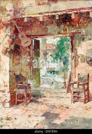 Teofilo Castillo, der Antiquar Shop, Cusco 1917 Öl auf Holz. Museo de Arte de Lima, Lima, Peru. Stockbild