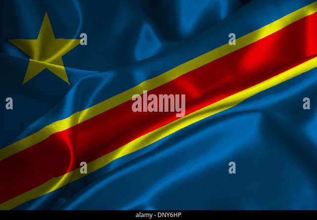 Demokratische Republik Kongo Flagge auf seidige Textur. Stockbild