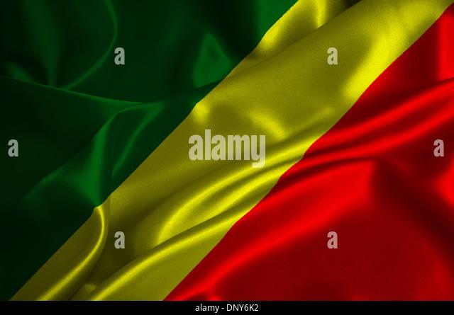 Republik Kongo Flagge auf seidige Textur. Stockbild