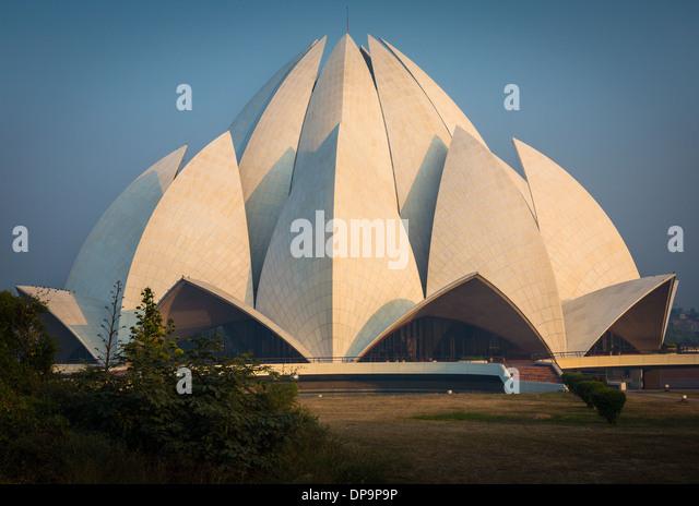 Der Lotus-Tempel befindet sich in Neu-Delhi, Indien, ist ein Bahá'Í Haus der Anbetung Stockbild