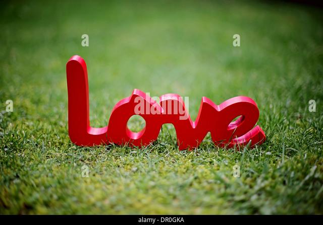 Liebe Zeichen im Bild auf dem Rasen Stockbild