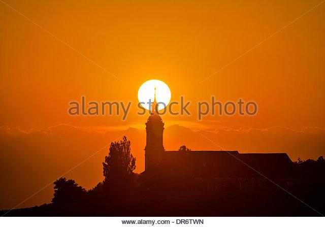 Deutschland, Baden-Wurttemberg, Birnau, barocke Kirche bei Sonnenuntergang Stockbild