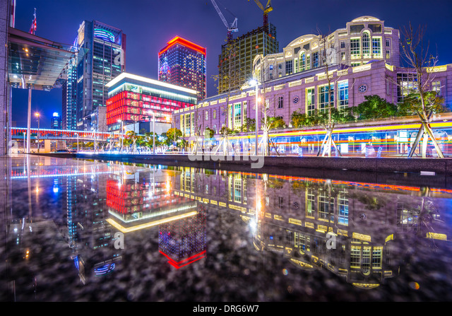 Taipei, Taiwan Stadtbild am Xinyi Financial District. Stockbild