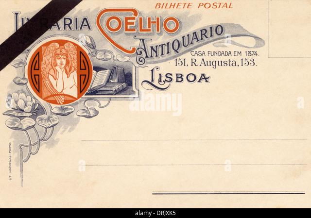 Lissabon, Portugal - antiquarischer Buchhändler Postkarte Stockbild
