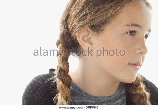 Close-up Portrait von Mädchen auf der Suche nach Stockbild