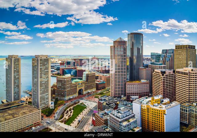 Boston, Massachusetts Luftbild und skyline Stockbild